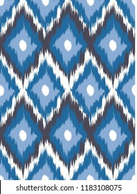 Seamless pattern Tribal Art Ikat Ogee in traditional classic colors. Vector illustration