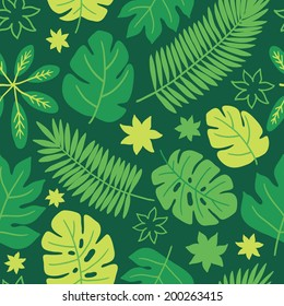 Seamless pattern with tropic leaves. Perfect for wallpapers, pattern fills, web page backgrounds, surface textures, textile, wrapping papers