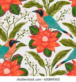 Seamless pattern with tropical birds, flowers and leaves. Exotic flora and fauna. Vintage hand drawn vector illustration in watercolor style