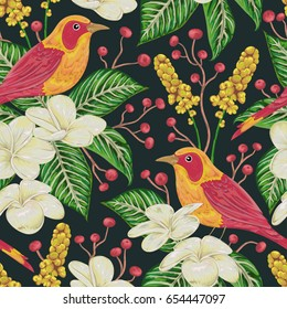 Seamless pattern with tropical birds, flowers,berries and leaves. Exotic flora and fauna. Vintage hand drawn vector illustration in watercolor style