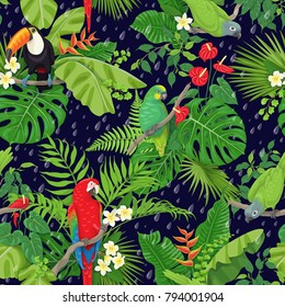 Seamless pattern with tropical birds leaves and falling rain drops on dark background. Colorful parrots and toucan sitting on branches. Tropic rain forest foliage texture. Vector flat illustration.