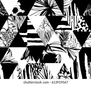 Seamless pattern Tropical birds, palms, flowers, triangles. Grunge ink style. Artistic creative universal floral pattern. Hand Drawn textures. Design poster, card, textile, print. Vector Illustration.