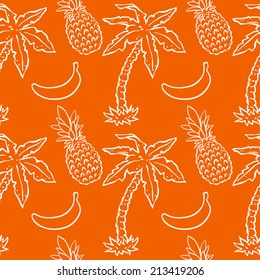 Seamless pattern with tropical coconut palm trees, pineapples, bananas. Abstract floral repeating background. Endless print texture. Fabric design. Wallpaper - vector