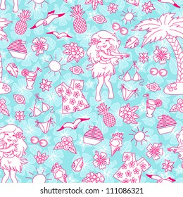 seamless pattern with tropical doodles (JPEG version available in my gallery)