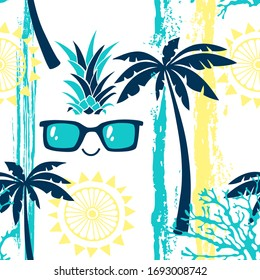 Seamless pattern with tropical elements on white. Summer cartoon background.  Vector illustration.