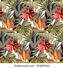 Seamless pattern with tropical exotic flowers and leaves. Vintage colorful pattern with plants. Bright summer pattern.