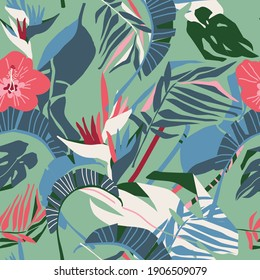 seamless pattern with tropical exotic leaves and flower, vector design for paper, fabric.