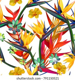 seamless pattern of tropical flovers on the white background