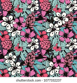 Seamless pattern with tropical flowers, leaves. Floral background. Summer print. Fabric design