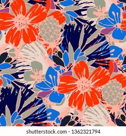 Nahtlose Muster mit tropischen Blumen, Blättern. Vintage, floraler Hintergrund. Wiederholung des Sommers. Natürliche Textur. Stoffdesign, Tapete