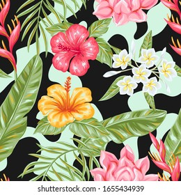Seamless pattern with tropical flowers and leaves. Decorative exotic foliage, palms and plants.