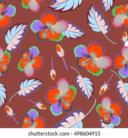 Seamless pattern of tropical flowers, multicolor hibiscus on a brown background, dense jungle. Hand painted. Pattern with tropic summertime motif may be used as texture, wrapping paper, textile design