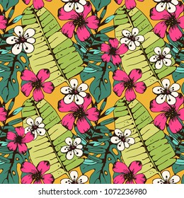 Seamless pattern with tropical flowers, palm leaves. Floral background. Summer print. Botanical texture. Wallpaper