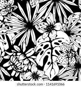 Seamless pattern with tropical flowers, palm leaves. Floral background texture. Summer print. Fabric design in black and white