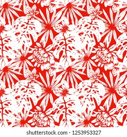 Seamless pattern with tropical flowers, palm leaves. Floral background texture. Summer print. Fabric design