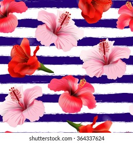 Seamless pattern with tropical flowers.  Vector  background.