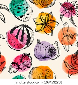 Seamless pattern with Tropical flowersand fruit