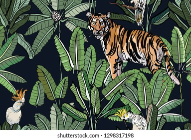 Seamless Pattern Tropical Forest Exotic Wild Life Animal Tiger with Parrot Birds in Jungle at Night on Dark Background