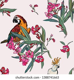 Seamless Pattern Tropical Forest Jungle Plants Blooming Trees Pink Flowers in Spring Garden Wildlife Exotic Birds Cockatoo Parrots in Flowers Floral Illustration Coloful Hand Drawn Graphic