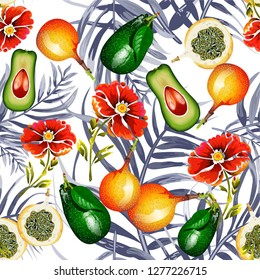 Seamless pattern with tropical fruits. Pattern with avocado and Granadillas.