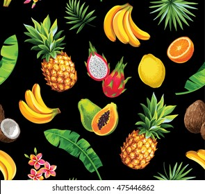 Seamless pattern with tropical fruits, flowers and leaves. Vector illustration.