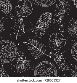 Seamless pattern with tropical fruits and flowers. Vector illustration