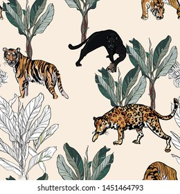 Seamless Pattern Tropical Jungle Exotic Animals in Tropics Plants Prints Hand Drawn Fine Line Illustration Pantera, Tiger and Leopard in Rainforest Isolated Elements Banana Flower Palm Tree