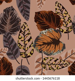 Seamless pattern from tropical leaves.