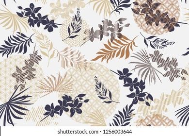 Seamless pattern with tropical leaves. Botanical design trendy. Design for fabric, textile, wrapping paper and other decoration.Vector illustration.