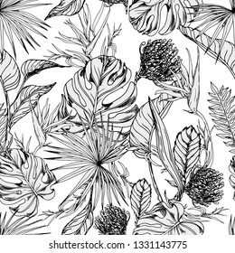 Seamless pattern with tropical leaves and flowers. Hand drawn vector on white background.