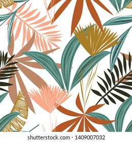 Seamless pattern with tropical leaves and flowers on white background. Vector design. Jungle print. Floral background.