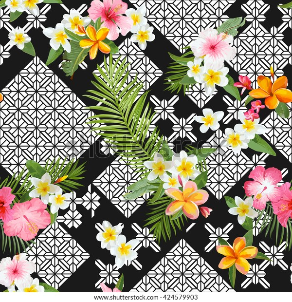 Seamless Pattern Tropical Leaves Flowers Background Stock Vector Royalty Free 424579903 Tropical leaves are the perfect way to transform your home into an island oasis and there are plenty of ways to do it! https www shutterstock com image vector seamless pattern tropical leaves flowers background 424579903