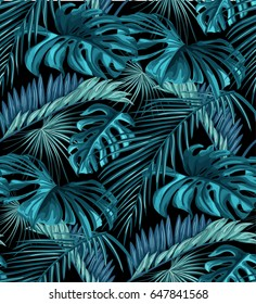 Seamless pattern of tropical leaves. Green palm leaves on the pink background. Vector seamless pattern. Tropical illustration. Jungle foliage.