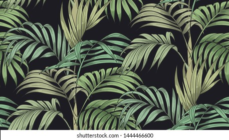 Seamless pattern with tropical leaves. Jungle. Vector print.