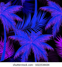 Seamless pattern of tropical leaves of palm tree. Neon color. Vector background.