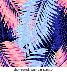 Seamless pattern of tropical leaves of palm tree