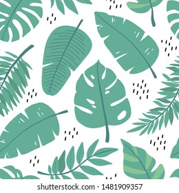 Seamless pattern with tropical leaves. Palm leaf texture for wrapping paper, background, wallpaper, print, poster, fabric. Vector ornament with exotic plants for decoration and design.