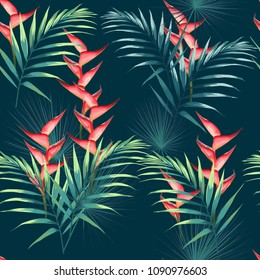 Seamless pattern with tropical leaves and paradise heliconia flowers. Dark and bright green palm leaves on the dark blue background. Vector seamless pattern. Tropical illustration. Jungle foliage.