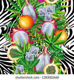 Seamless pattern with tropical leaves, tiger stripes, pitaya fruit, granadillas.