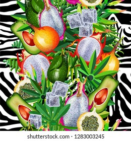 Seamless pattern with tropical leaves, tiger stripes, pitaya fruit, granadillas, and avocado.