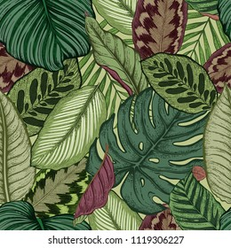 Seamless pattern with tropical leaves. Vector illustration.