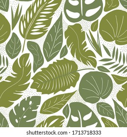 Seamless pattern with tropical leaves. Vector illustration-exotic plants on a white background . Fashionable Botanical fabric design. Illustration of the jungle.