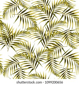 Seamless pattern with tropical leaves. Yellow and bright green palm leaves on the white background. Vector seamless pattern. Tropical illustration. Jungle foliage. Vintage colors.