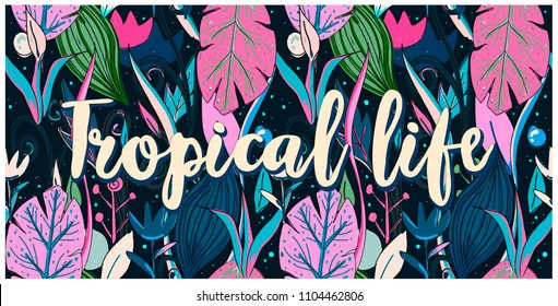 Seamless pattern tropical life, hand drawn leaves, flowers. Print colorful modern textile, jungle doodle theme, abstract sketch art.