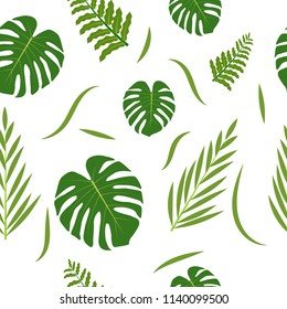 Seamless pattern with tropical palm leaves. Vector Illustration. EPS 10
