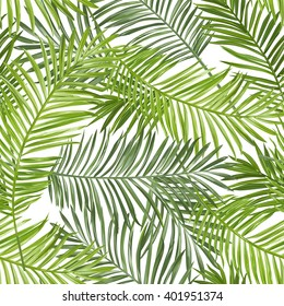 Seamless Pattern. Tropical Palm Leaves Background. Vector.