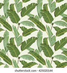 Seamless Pattern. Tropical Palm Leaves and Flowers Background. Banana. Vector. Exotic Texture. Floral Wallpaper.