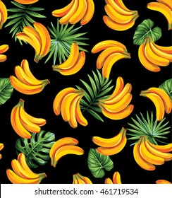 Seamless pattern with tropical palm leaves and bananas. Vector illustration.
