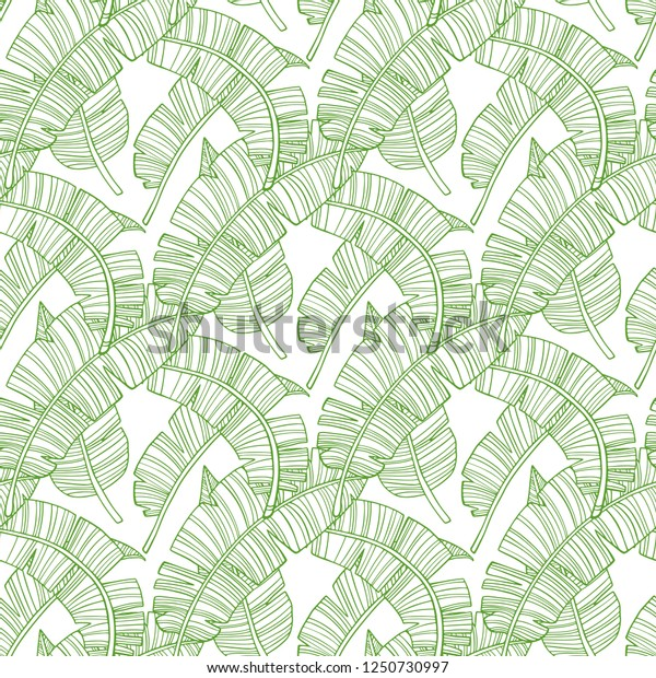 Seamless Pattern Tropical Palm Leaves Background Stock Vector Royalty Free 1250730997 Here we have a leaf drawing in vector format. shutterstock