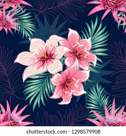 Seamless pattern of a tropical palm tree, jungle leaves and flowers. Vector floral pattern.